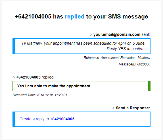 SMS Reply Notofication Example