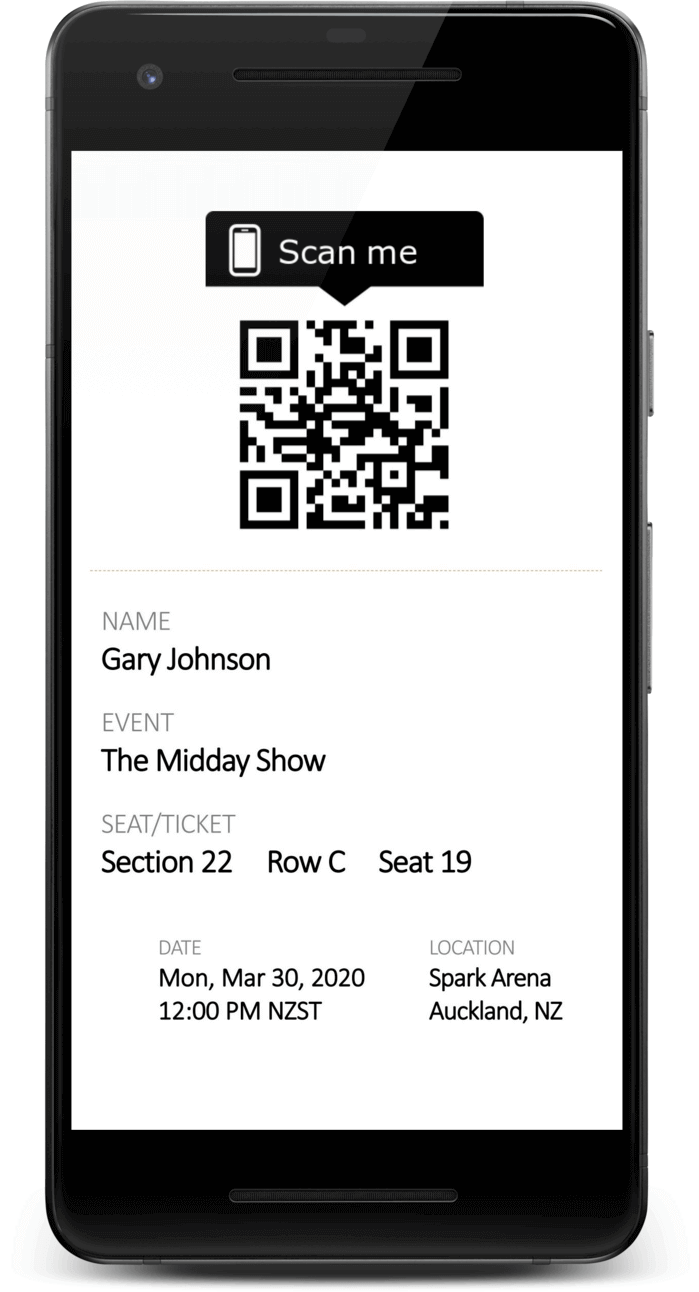 Mobile Phone Displaying Event Ticket