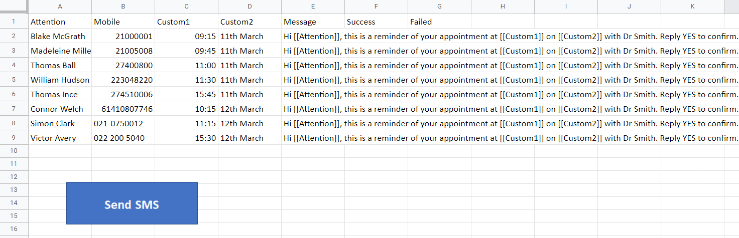 Google Sheets macro screenshot
