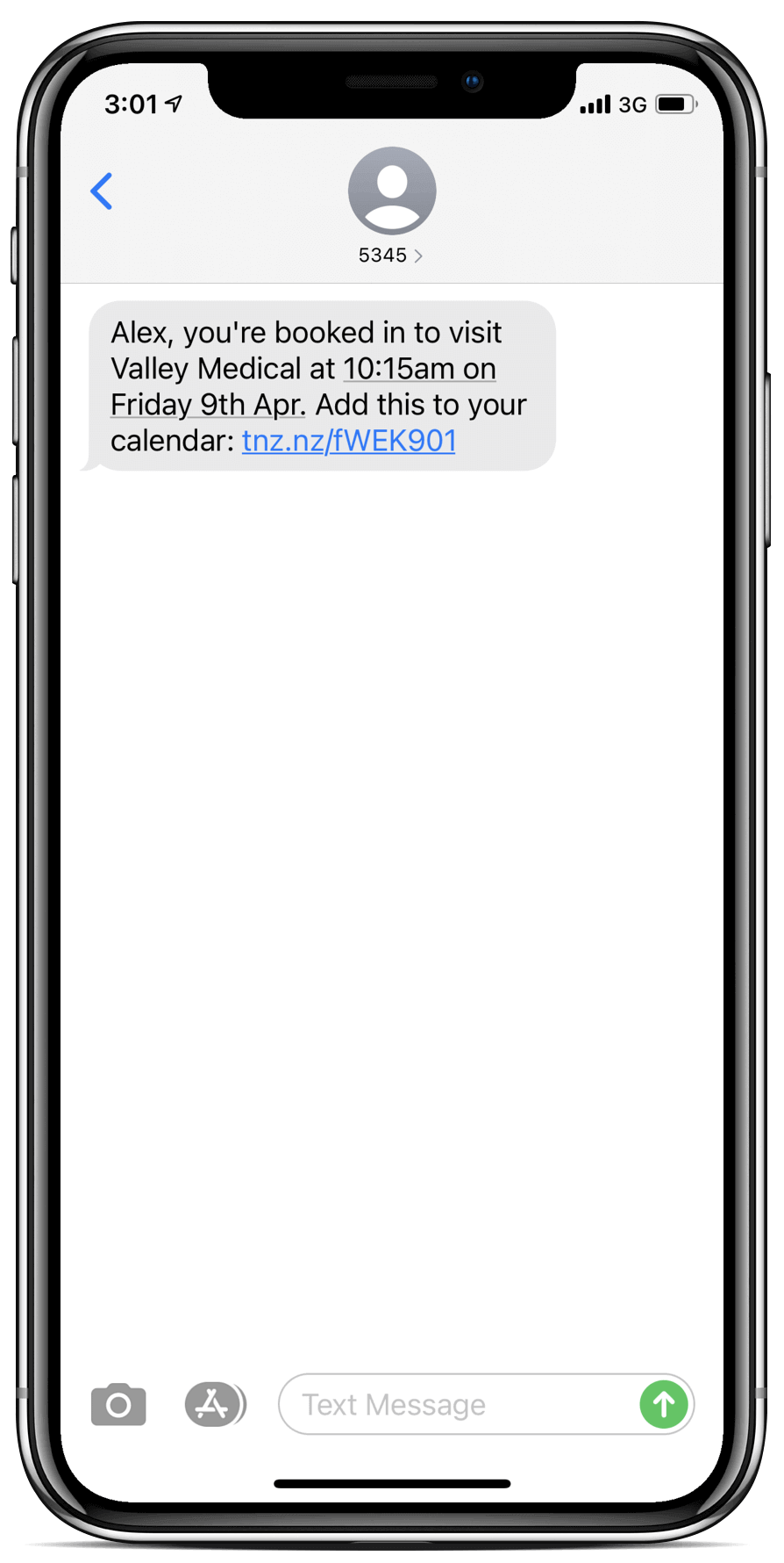 An example of files sent using SMS