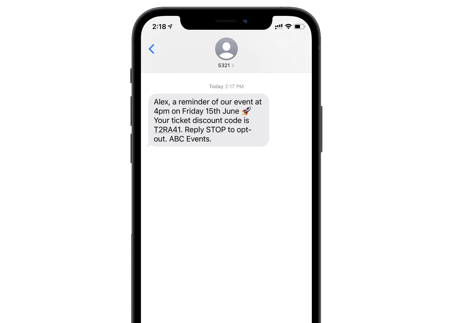 Personalised text message displaying on an iPhone